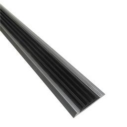 Алюминиевая противоскользящая накладка на ступени с черной резиновой вставкой (черная)