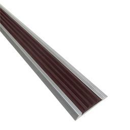 Алюминиевая противоскользящая накладка на ступени с черной резиновой вставкой (коричневая)