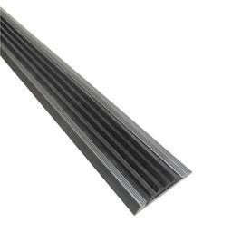 Алюминиевая противоскользящая накладка на ступени с черной резиновой вставкой (серая)
