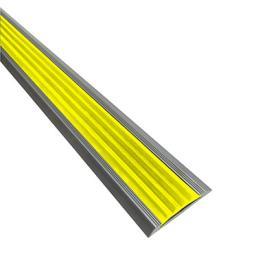 Алюминиевая противоскользящая накладка на ступени с черной резиновой вставкой (желтая)