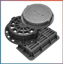 Люк полимерно-композитный квадратный 650х540х60 5т серый