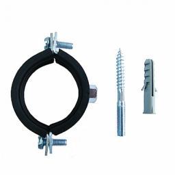 Хомут трубный, сталь, гайка, упл. EPDM, со шпилькой-шурупом и дюбелем, 75-80 хМ10